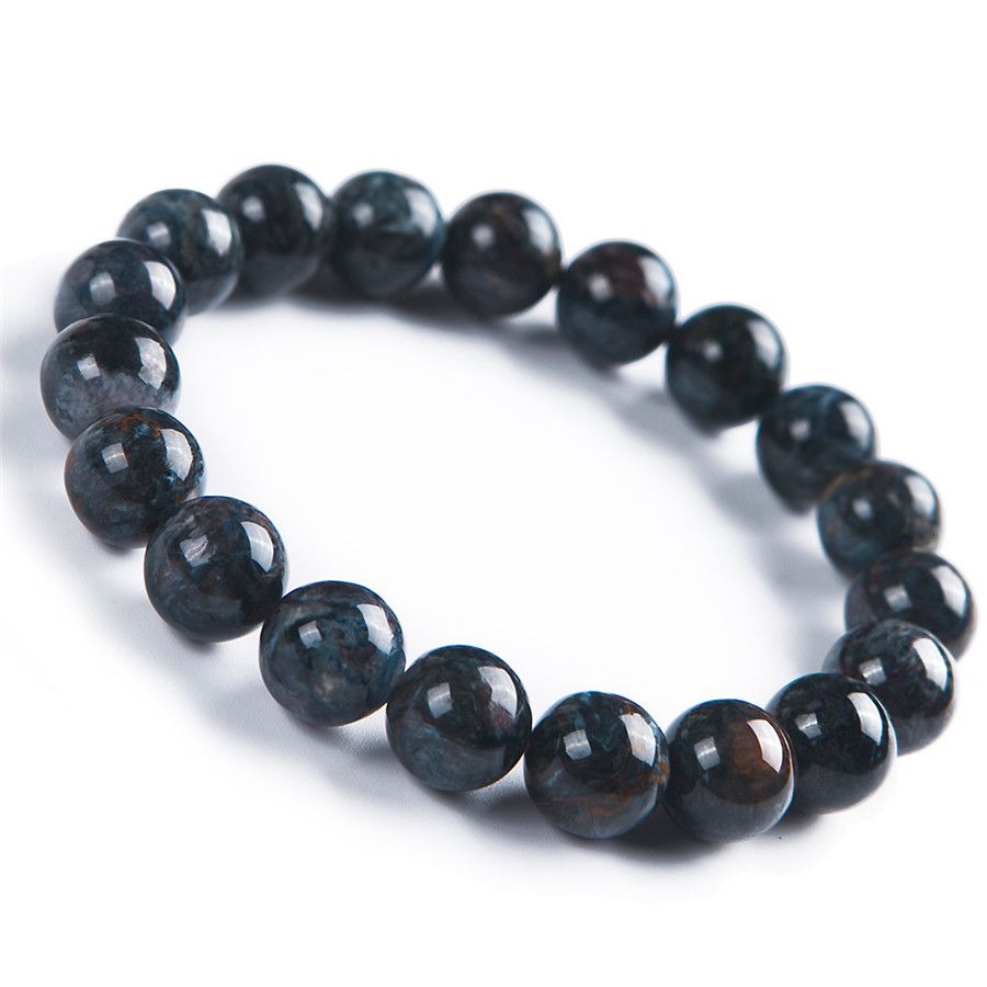 Natural Blue Pietersite Stone Round Beads Women Lady Stretch Bracelet 10.5mm AAAA недорого