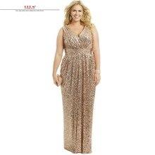 vestidos de madrinhas de casamento2017 Sexy V neck champagne gold sequins  bridesmaid dresses long plus size 86c4c511ed86