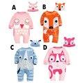 2015 nuevo otoño ropa del bebé mono de las muchachas ocasional lindo de la historieta fox owl perro gorras Mamelucos conjuntos de ropa