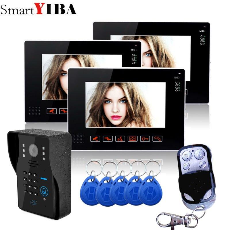 SmartYIBA 9 Video Intercom TFT LCD Wired Video Door Phone Visual Home Video Intercom Outdoor Door bell doorbell 3 monitor