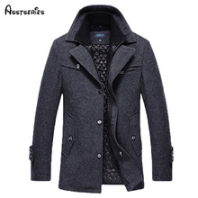 Free Shipping New 2017 Autumn/Winter Men's Fashion Brand Men Long Section Brand Men Plus Cotton Coat Thick Woolen Coat 158(China)