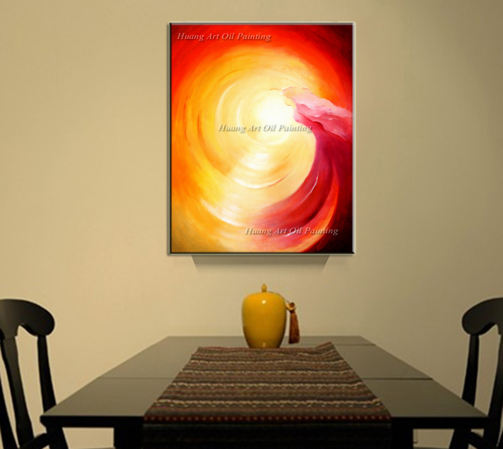 Hand Painted Modern Red Color Abstract Waves Canvas Wall Art Oil ...