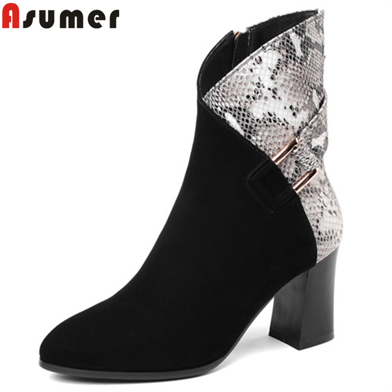 ASUMER 2018 hot sale autumn winter boots round toe zip fashion genuine leather boots buckle mixed colors ankle boots for women asumer black fashion 2018 autumn winter boots women round toe zip mixed colors ankle boots flat with suede leather boots