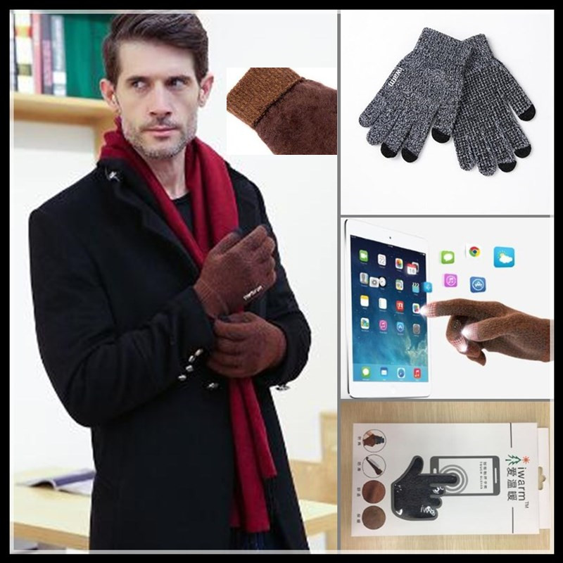 400p!Top-end Lovers Winter Sporting Warm 3-Finger Touch Screen Gloves For Iphone Smart Phone,Woolen Knitted,non-slip,Neri Velvet
