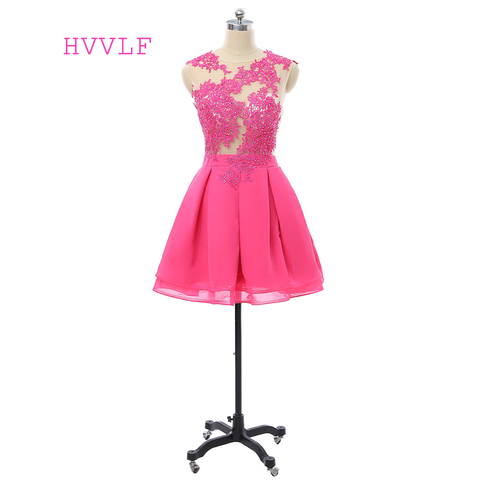 Homecoming a Linha Frisada as Costas Vestidos de Cocktail Fuchsia Vestidos Mangas Curto Mini Chiffon Lace Abertas Elegantes 2020 Cap
