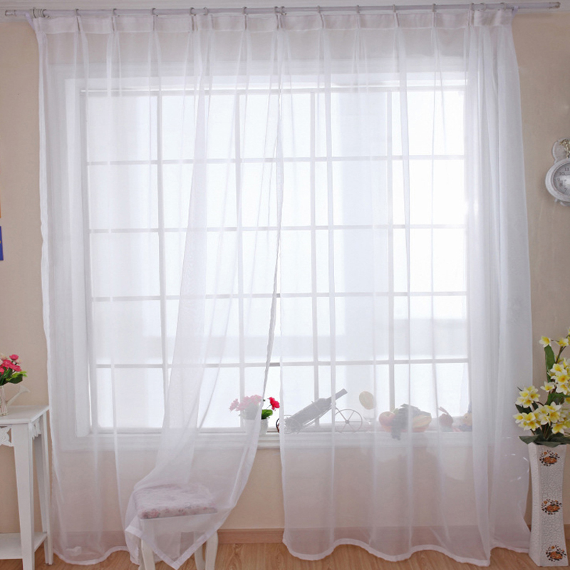 Modern Pure Solid Tulle Curtains For Shading Kitchen Hotel Balcony Living  Room White Green Red Yellow