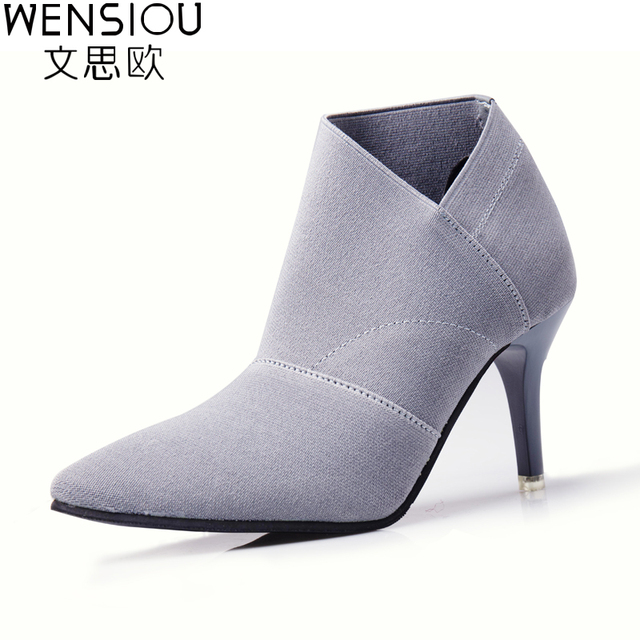 Women Fashion Cotton shoes High Heel Stretch Fabric Boots Lady Solid  Elegant Winter Boot Martin Thin
