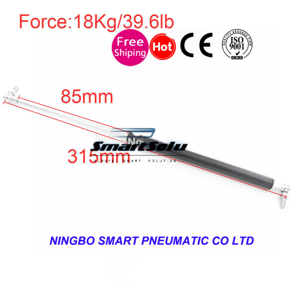 free shipping  Gas Spring 18Kg / 39.6lb Force 85mm Stroke Hood Lift Support for Funiture Door 315mm Central Distance Gas Springs 60kg 132lb 400mm force 160mm long stroke auto gas spring hood lift support 400 160mm central distance m8 gas springs in springs
