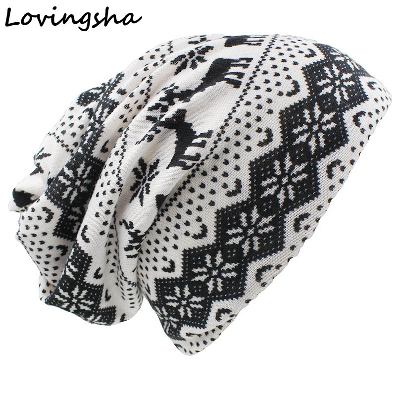 LOVINGSHA Brand Girl   Skullies   And   Beanies   Autumn And Winter Dual-use Hats For Ladies thin Geometric Design Women Scarf HT051