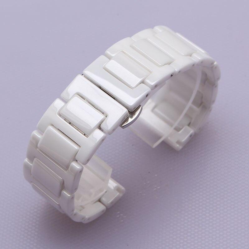 4b78479af0e9 Cerámica blanca correas de Reloj ancho 14mm 16mm 18mm 20mm correa de Reloj  de Correa de