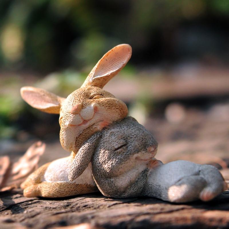 Cute Rabbit Statues Collection Resin Animal Figurines Ornament Garden Micro Landscape Decoration Ornament Creative Craft Gift