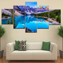 Moraine Lake 5 Panel/piece HD Print landscape modern Wall posters Canvas Art painting For home living room decoration naturally beautiful places in india landscape 5 panel hd print wall posters canvas art painting for home living room decoration