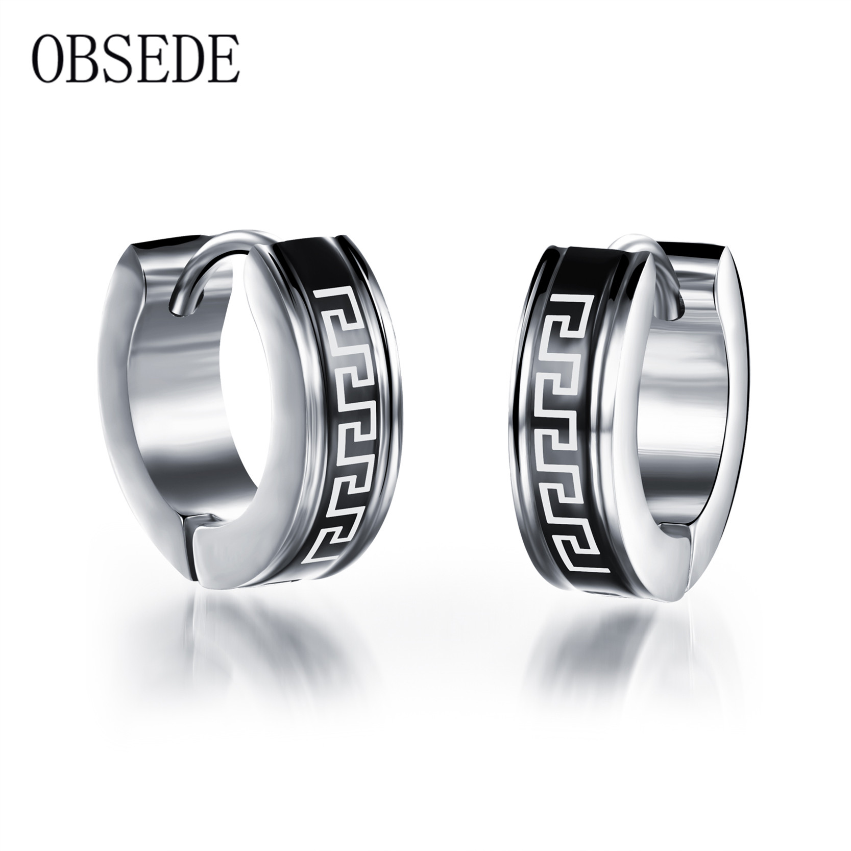 Obsede Stainless Steel Earring For Men Wrinkle Design Circle Round Earring  Stud Silver Color Male Jewelry