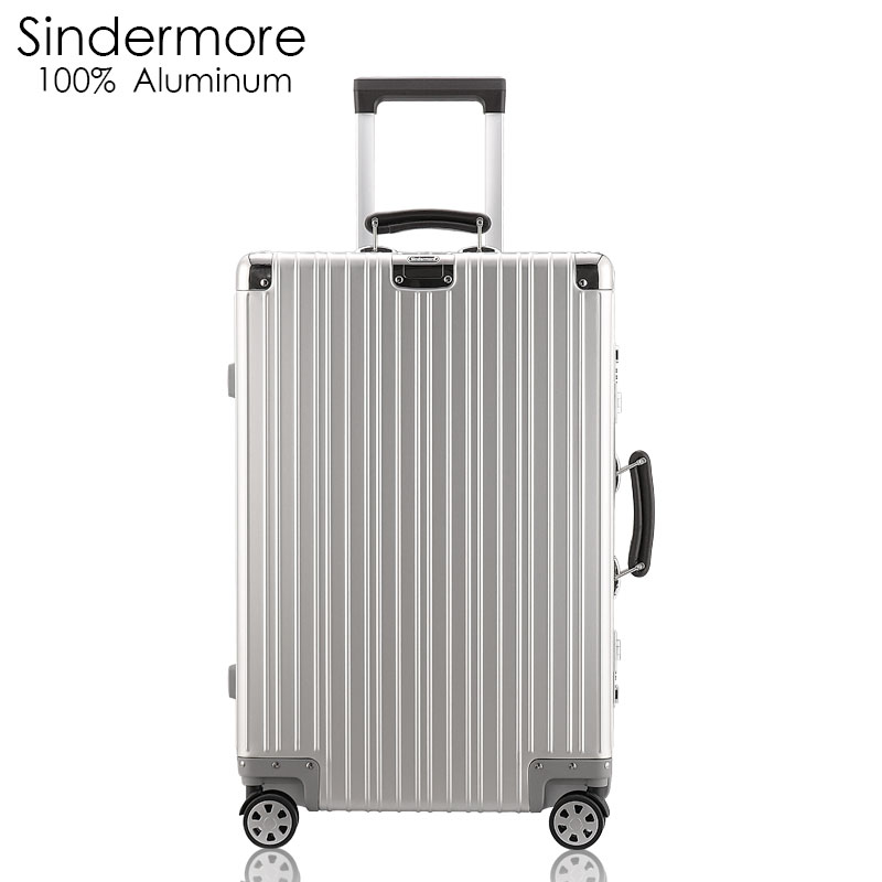Sindermore 100% All Aluminum Luggage Hardside Rolling Trolley Luggage travel Suitcase 20 Carry on Luggage 24 26 Checked Luggage hardside rolling luggage suitcase 20 carry on 242628 checked luggage aluminum frame pc shell luggage travel trolley suitcase