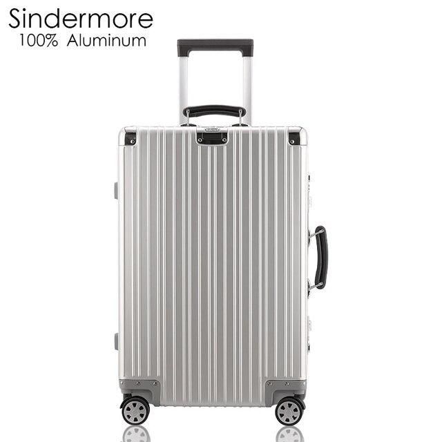 """sindermore 100% всего алюминия камера hardside Rolling тележки камера поездок чемодан 20 ручной клади 24 26 багаж sindermore 20 """"24"""" 26 """"100% алюминиевый чемодан Чемоданы дорожные на колесах на колесиках дорожные"""