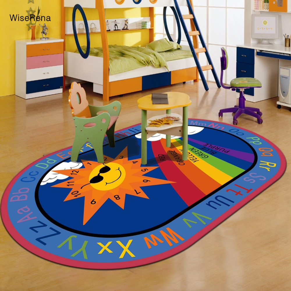 Lovely Sun Letters Cartoon Carpet Children Kids Play Rugs Parlor Living Room Boy Bedroom Mat Printed Home Decorate Carpet tapete