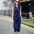 Wide Leg Capris Summer Jumpsuit Women Sleeveless Ruched With Sashes Rompers Women Jumpsuit Overalls Bodysuit Playsuit S6114