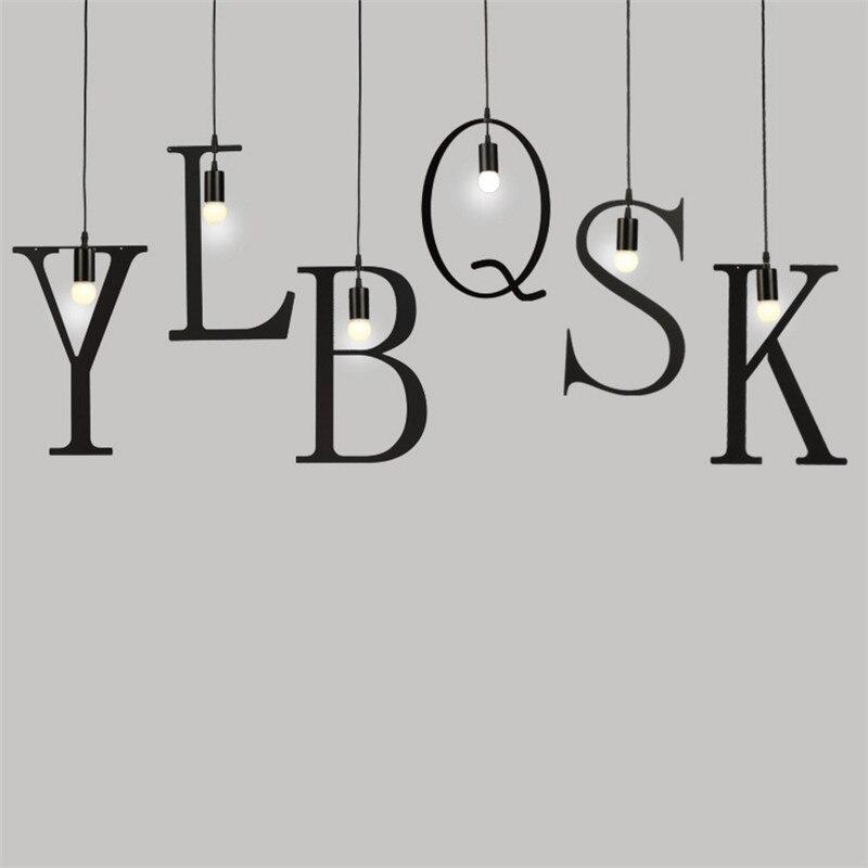 Image 2 - Feiemfeiyou A Z words Music character e27 Creative Black Led Pendant Lamp for Bar bedroom bookroom Pendant Lightingpendant lampled pendant lamplamp for bar -