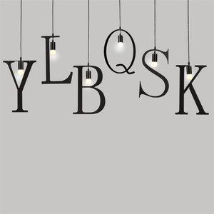 Image 2 - Feiemfeiyou A Z words Music character e27 Creative Black Led Pendant Lamp for Bar bedroom bookroom Pendant Lighting