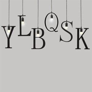 Image 2 - Feimfeiyou A Z słowa postać muzyczna e27 kreatywny czarny wisiorek Led lampa dla Bar sypialnia bookroom lampa wisząca