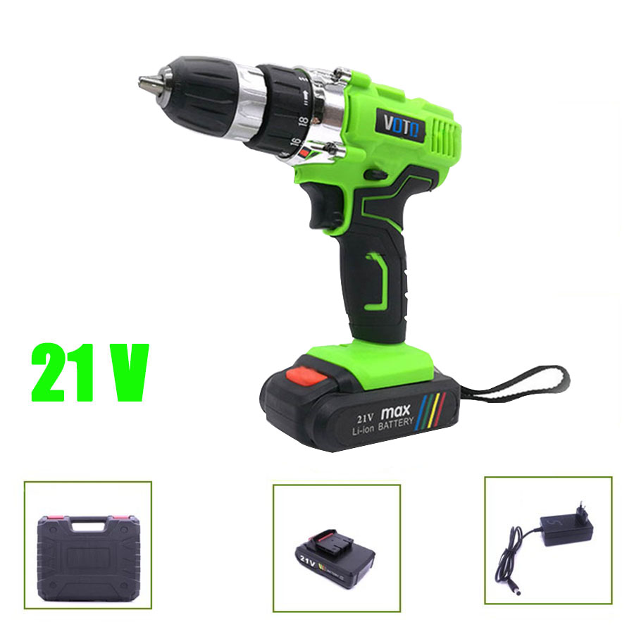 VOTO V6 Battery Rechargeable Cordless Drill Electric Screwdriver Set Lithium Power Tools Screw Gun Driver 21V Green With Case voto v6 battery rechargeable cordless drill electric screwdriver set lithium power tools screw gun driver 12v 16 8v 21v pink