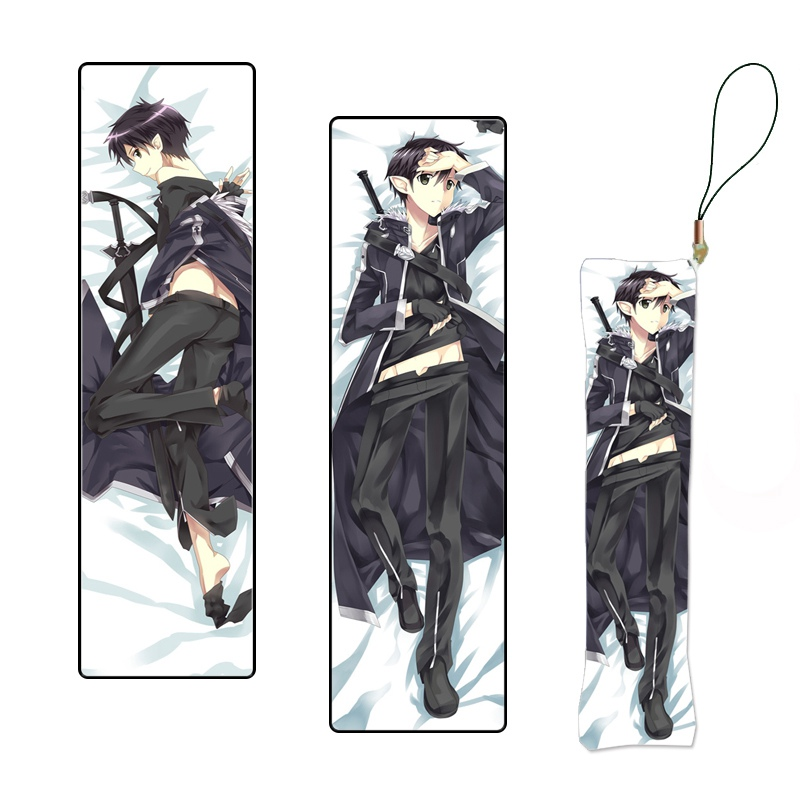 Mini Dakimakura Keychain Kirito Japanese Anime Sword Art Online Print Pillow Hanging Ornament Phone Strap Custom Made