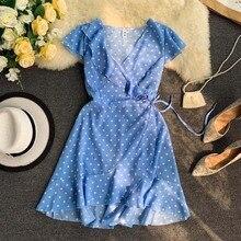 NiceMix 2019 summer Womens Polka Dot Mini Dresses New Summer V-neck Irregular Ruffled Lace-up Ruffles Short Dress Bohemian