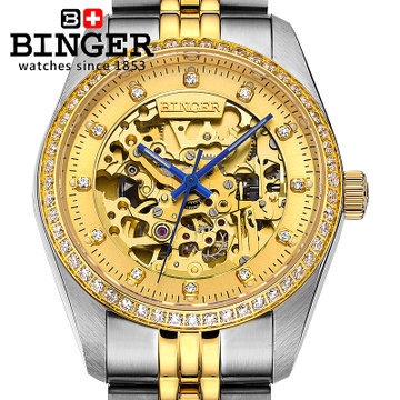 Binger new man CZ diamond watch white gold quality brand automatic mechanical watches luxury sapphire ruby Skeleton wristwatches 2017 new sale mechanical man watch relogio masculino gold white watchband automatic date week movt waterproof mans wristwatches