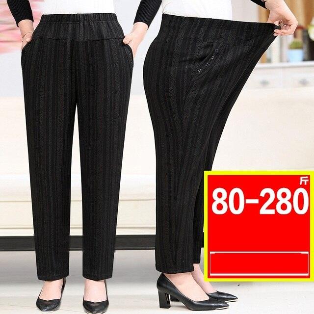 בגיל העמידה סבתא בתוספת קטיפה מכנסיים אופנה מזדמן רופף אלסטי מותניים נשים מכנסיים גודל גדול חם נשי חורף מכנסיים