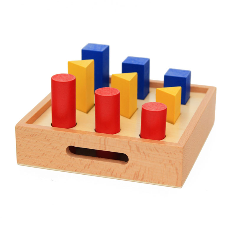 Wooden Montessori Toys For Infants 3 Colours 3 Shapes