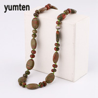 Yumten Unakite Necklace Power Natural Stone Men Crystal Women Jewelry Water Droplets Gift Friends Elephant Colar