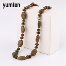 Yumten Unakite Necklace Power Natural Stone Men Crystal Women Jewelry Water Droplets Gift Friends Elephant Colar Feminino Choker(China)