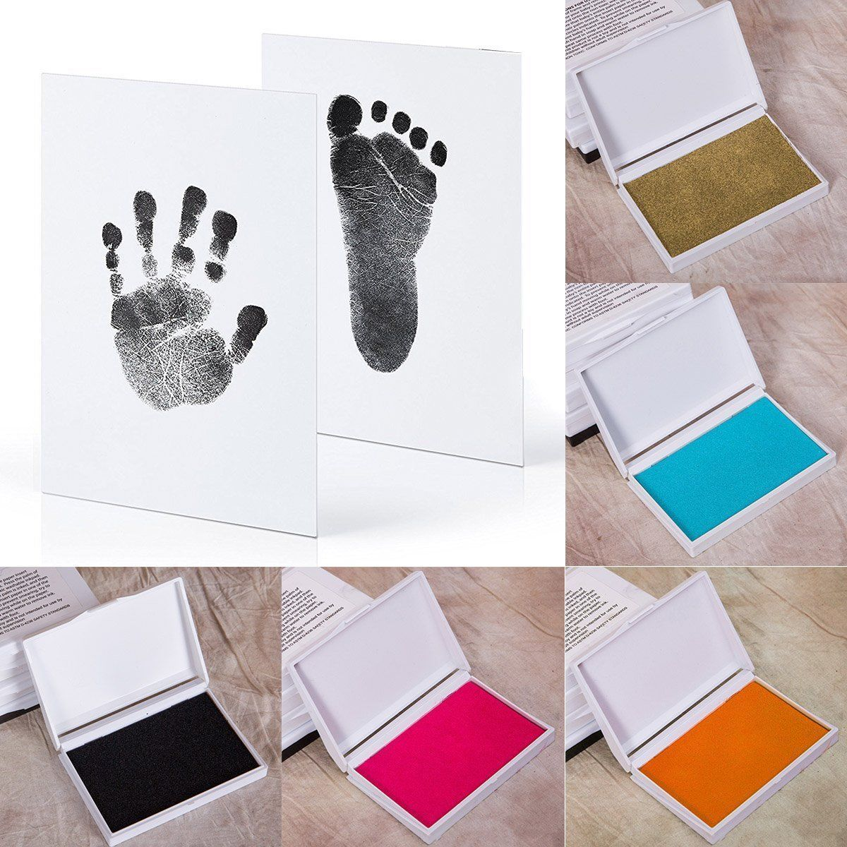 Baby Handprint Footprint Kit Paw Print Pad Photo Frame Touch Ink Pad Baby Items Gifts Newborn Souvenirs Casting Ink Pad(China)
