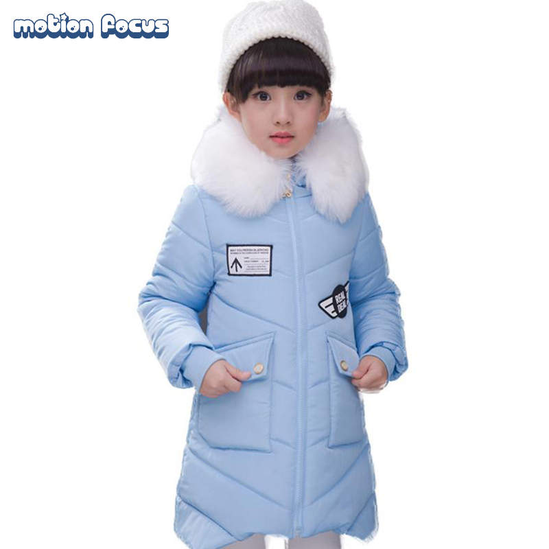 ФОТО 2016 High Quality Children Winter Jackets for Girls Fur Collar Down Coat Thick Warm Outerwear with Hooded Long Children's Jacket