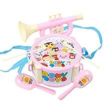 Купить с кэшбэком 4pcs Children Toy Instruments Kit Drum Small Sand Hammer Horn Kits Early Educational Baby Toys Gift YJS Dropship