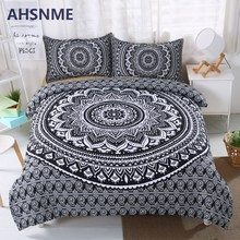 AHSNME Black White Duvet Cover Classic Bohemian Bedding Set Housse de Couette Adult King Queen Size Indian Tribal Bed Sets(China)