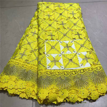 Yellow African Stones Lace Fabric 2019 High Quality Lace French Net Embroidery Lace Fabrics For Nigerian Party Dress Y1430