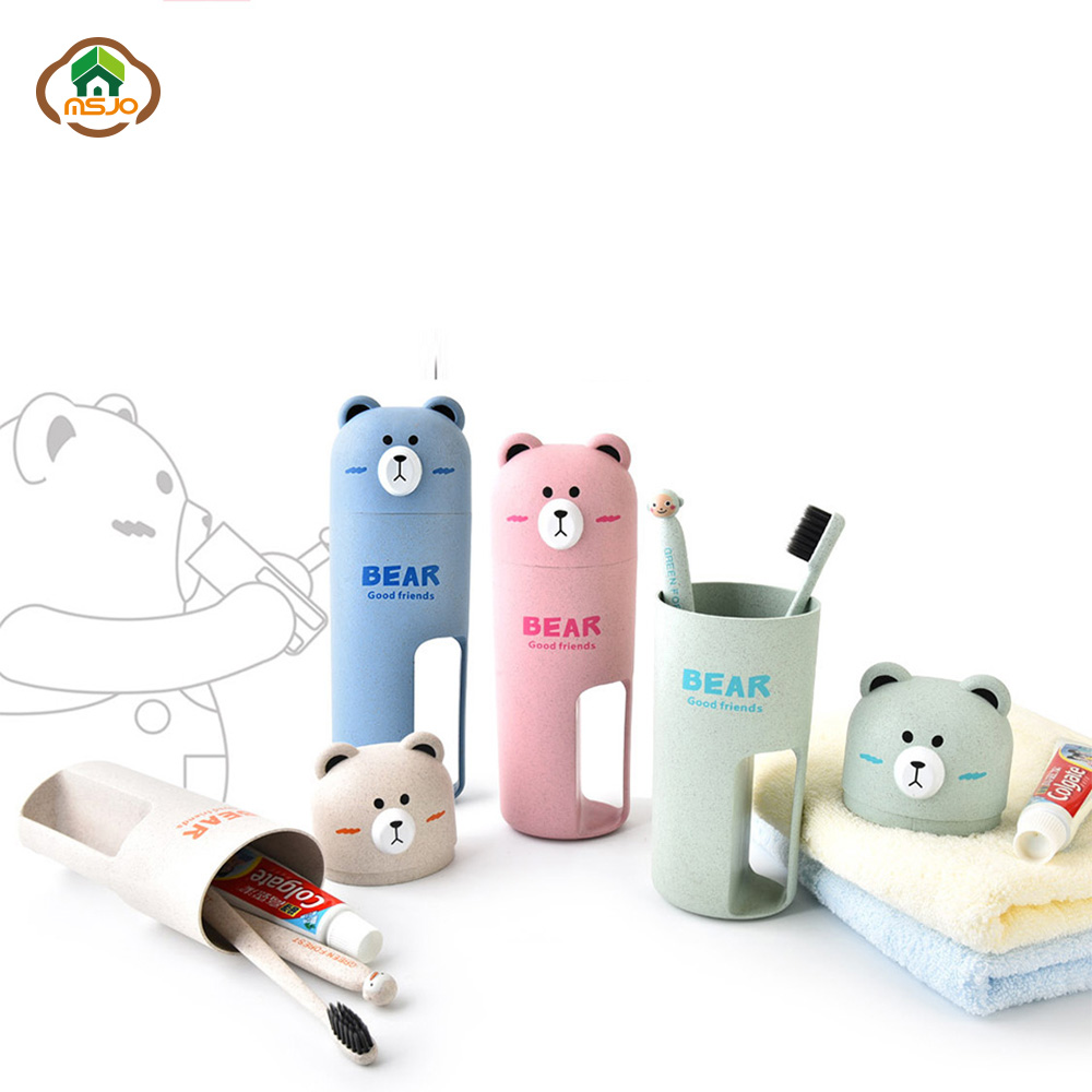 MSJO Kids ToothBrush Case Portable Cup Container 2Pc Toothbrush Box Travel Bathroom Accessories Bear Cute Toothbrush Cover Case image