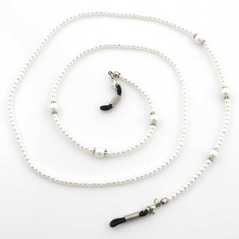 Acrylic Pearl Silver Flower Beads Chain Glasses Chains Necklace Reading Glasses Cord Holder Neck Strap Rope for Eyewear
