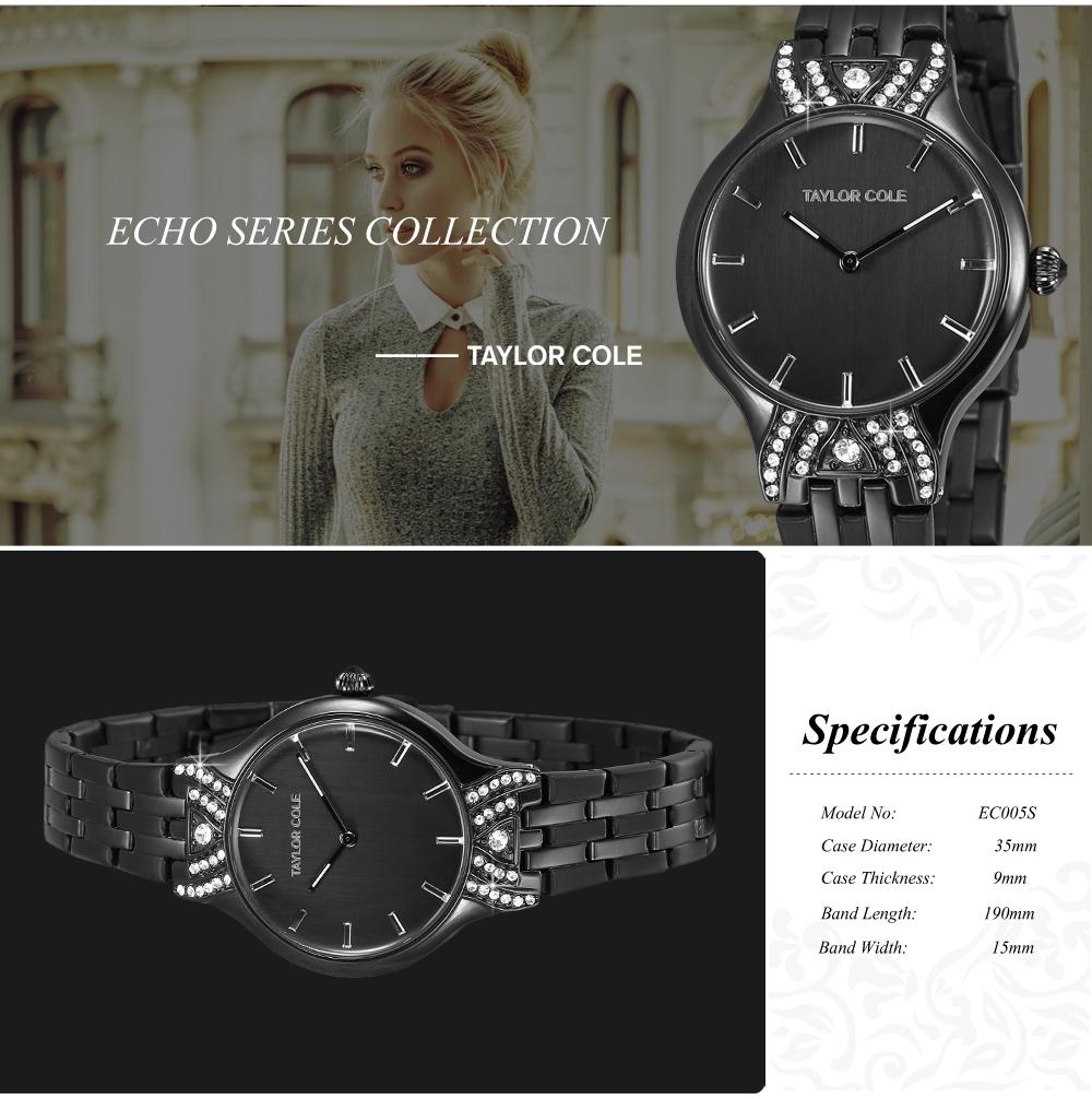 dec088f1f87 Cole Taylor originais Relógios De Cristal Senhora Vestido Preto ...