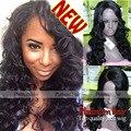 Venda quente Onda Do Corpo Sintético Peruca de Cabelo Para As Mulheres Negras Nenhum Lace Preto Sem Cola Cabelo Ondulado Resistente Ao Calor Sintético Nenhum Lace Wigs