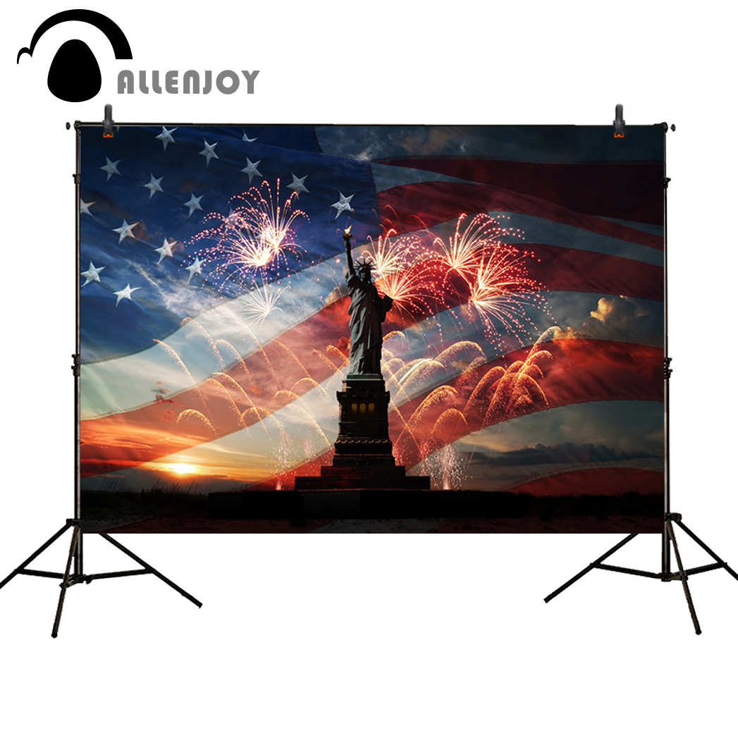 Allenjoy foto fundo americano independência a estátua da liberdade fogos de artifício americano ano novo natal fotografia pano de fundo