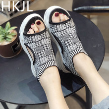 HKJL 2019 summer new open toe female sandals Korean version comfortable non-slip student platform shoes fashion A174