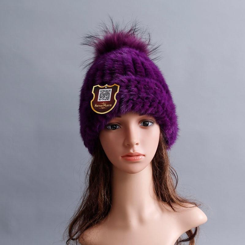 Women Genuine Mink Cap Rex Fur poms Snow ball Cap Winter Hats for Girls Skull Cap