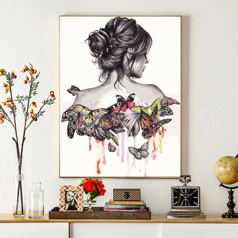 ROYALDREAM Butterfly Woman Back View DIY Painting By Numbers Wall Art Picture Acrylic Canvas Painting Home Decor For LivingRoom in Painting Calligraphy from Home Garden