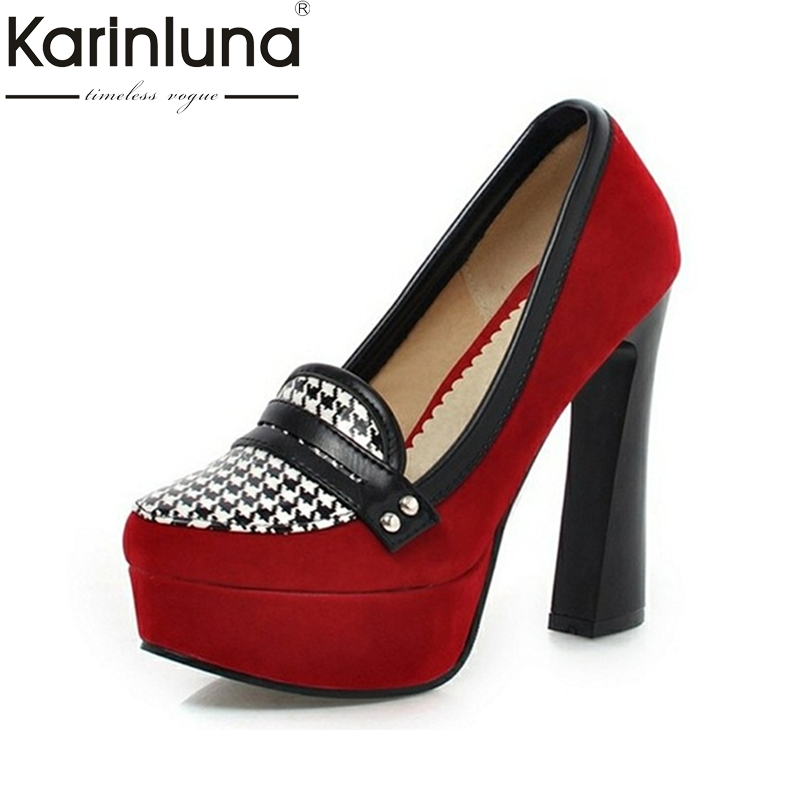 KARINLUNA Top Quality Big Size 33-43 Sexy Super High Heels Pumps Mixed Colors Platform Office Lady Party Wedding Shoes Woman quality brand new sexy black red women glossy platform pumps purple high heels lady bridal shoes em10 plus big size 11 31 43 45