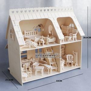 Миниатюрный Кукольный домик, мебель из дерева для кукол, набор мини-мебели, детские игрушки-пазлы
