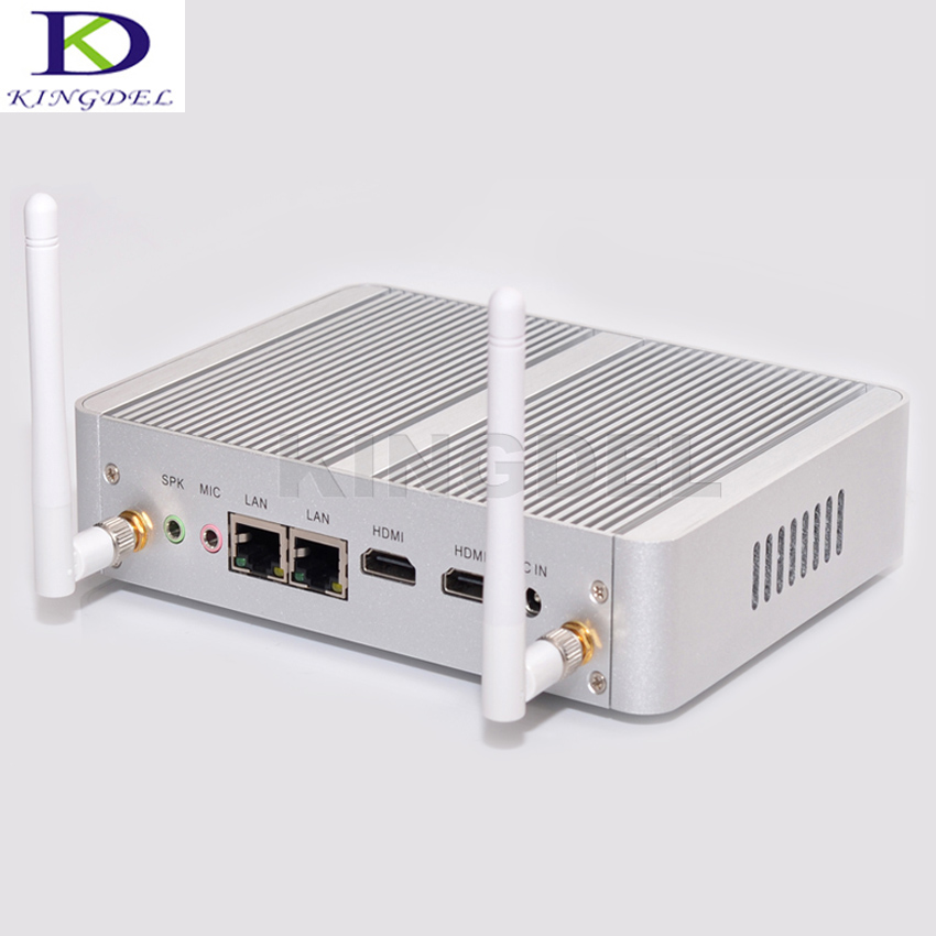 Kingdel NC690 Fanless Desktop Computer Mini PC N3150 N3050 With Dual Lan Dual HDMI 6*USB Free WiFi