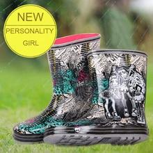 Модные Новый 40 ярдов до середины икры Ботинки непромокаемые сапоги непромокаемые ботинки на плоской подошве женские непромокаемые женские водонепроницаемые ботинки на резиновой подошве хорошего качества Обувь
