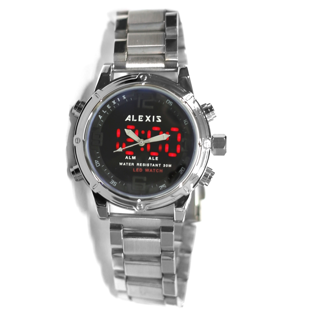 ALEXIS Brand BackLight Water Resistant Alarm Dual Time Analog Digital Watches for man led watch montre homme horloge mannen alexis топ из жоржета